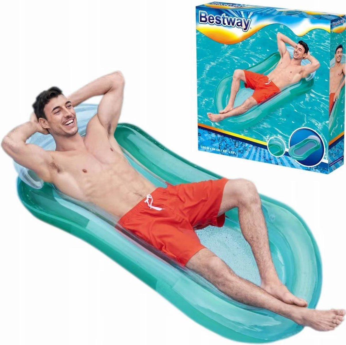 luchtbed voor 1 persoon. 160x84 cm, comfortabele hoofdsteun, Groen.