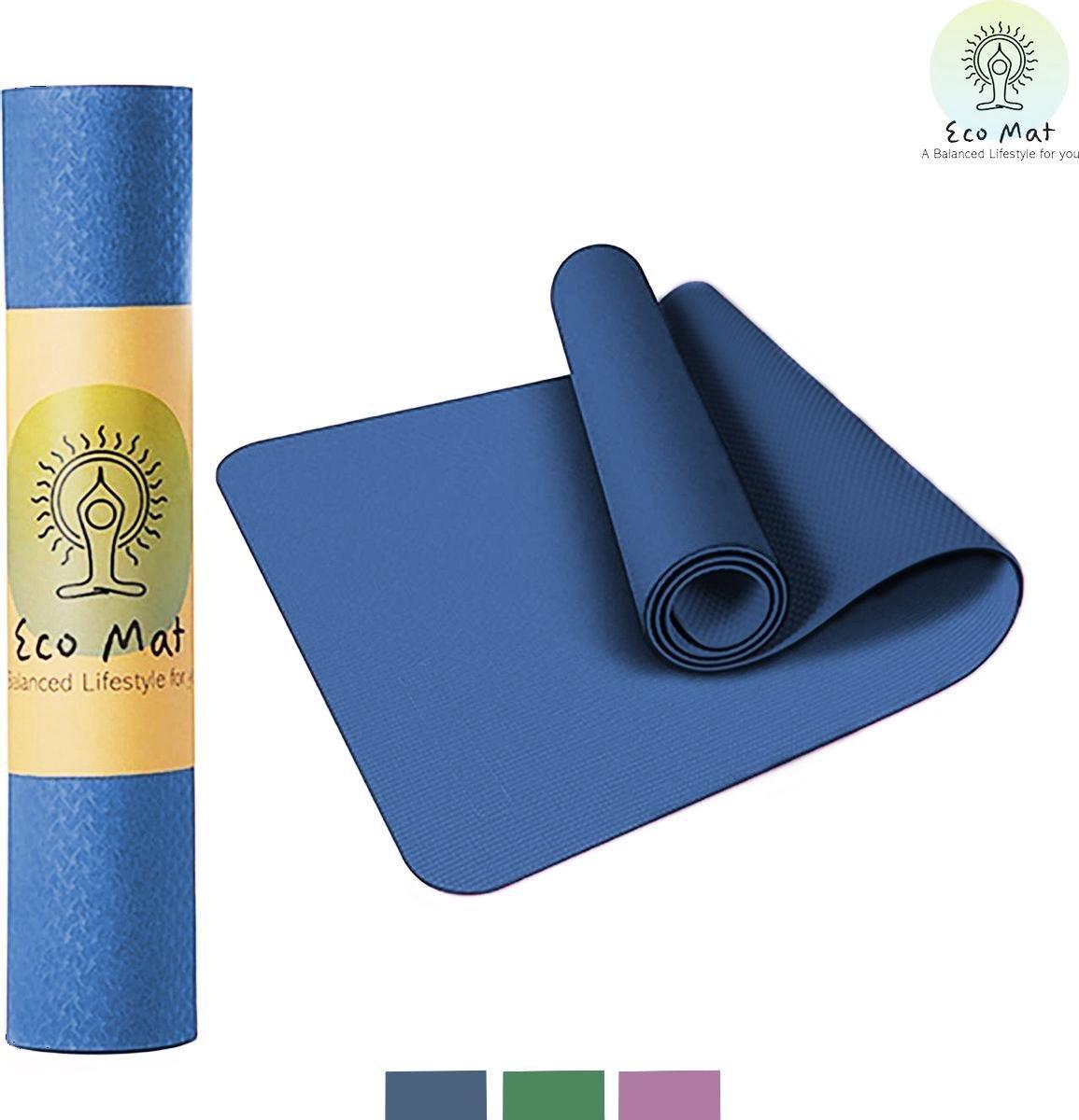Eco Yoga Mat - Inclusief Draagriem - Anti Slip - Extra Dik (6 mm) - 61 x 183 x 0,6 cm - Donker Blauw