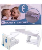 Eletux-B Kinderslot Kastjes - 12 Stuks - WIT - Kinderbeveiliging voor Kasten - Kastslot - Kast Beveiliging Baby - Veiligheidshaakjes - Kastsloten Baby - Kinderslot Lade - Kind Veiligheidsslot Baby - Lade Beveiliging Kind - Ladeslot