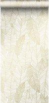 ESTAhome behang getekende bladeren wit en goud - 139125 - 0.53 x 10.05 m