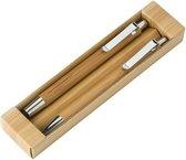 Bamboe pennenset in doosje 2-delig - balpen en vulpotlood - Kantoor/bureau benodigdheden