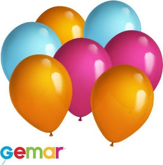 30 ballonnen Oranje, Fuchsia en Licht Blauw (Ook geschikt voor Helium)