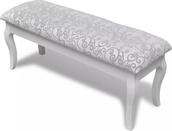 vidaXL - Poef Gestoffeerde poef / tweezits toilettafel WIT 110 cm