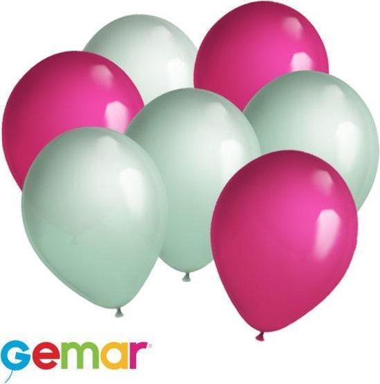 30 ballonnen Mintgroen en Fuchsia (Ook geschikt voor Helium)