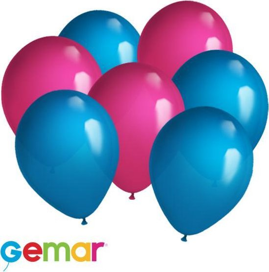 30 ballonnen Fuchsia en Blauw (Ook geschikt voor Helium)