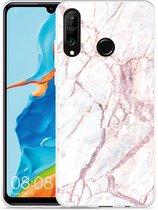 Huawei P30 Lite Hoesje White Pink Marble