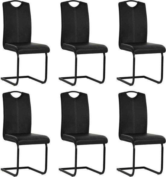 Betere bol.com | Eettafel stoelen Zwart set van 6 STUKS Kunstleer LC-05