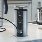 Evoline Port Cuisine (3x 230V) VEVO3 Uittrekbaar stopcontact Aluminium Belgische penaarde