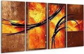 Glasschilderij Modern | Geel, Bruin, Zwart | 160x80cm 4Luik | Foto print op Glas |  F004867