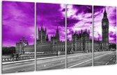 Glasschilderij Londen | Paars, Grijs, Zwart | 160x80cm 4Luik | Foto print op Glas |  F002456