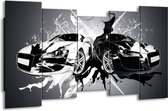 Canvas schilderij Audi   Zwart, Wit, Grijs   150x80cm 5Luik