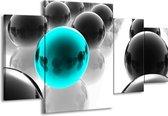 Canvas schilderij Ballen | Zwart, Wit, Blauw | 160x90cm 4Luik
