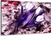 Canvas schilderij Tulpen   Paars, Wit, Roze   140x90cm 1Luik