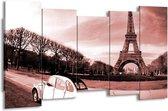 Schilderij   Canvas Schilderij Steden, Parijs   Bruin, Rood   150x80cm 5Luik   Foto print op Canvas