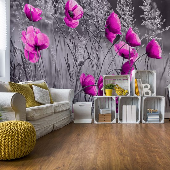 Fotobehang Purple Poppies Black And White | VEA - 206cm x 275cm | 130gr/m2 Vlies