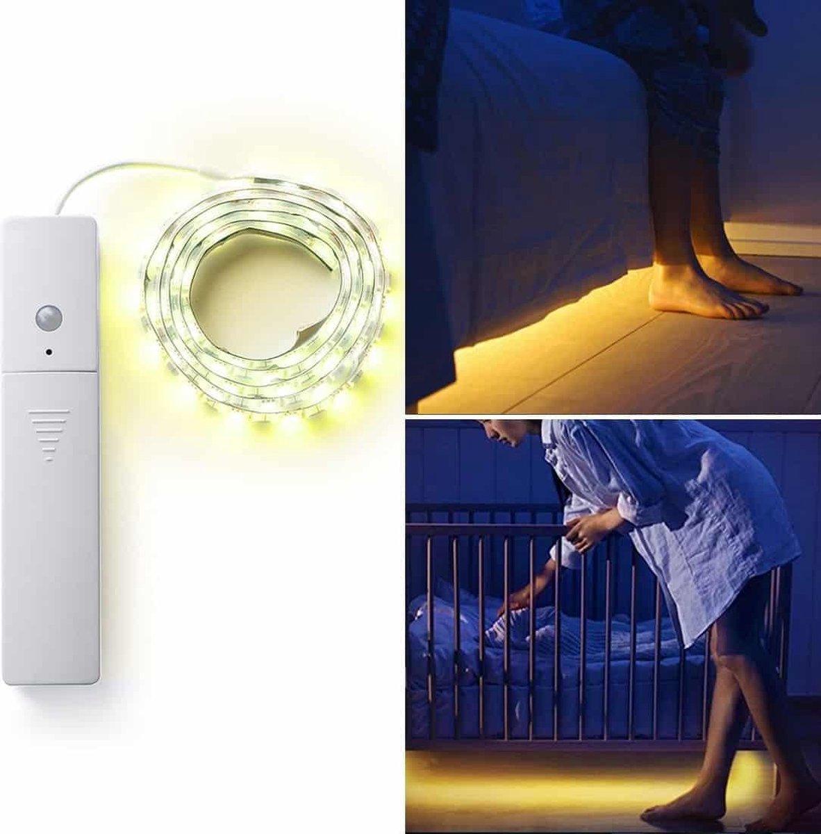 1 m PIR menselijk lichaam Motion Sensor LED Strip Lamp, 60 LED's SMD 5050 LED licht, DC 5V (warm wit)