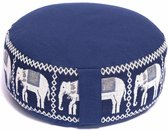Meditatiekussen donkerblauw olifanten opdruk (33x16 cm)