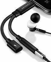 YAOMAISI Q04 2 in 1 2.4A 8-pins Audio-oplaadconvertor Adapterkabel, voor iPhone XR / iPhone XS MAX / iPhone X & XS / iPhone 8 & 8 Plus / iPhone 7 & 7 Plus / iPhone 6 & 6s & 6 Plus & 6s Plus / iPad (zwart)