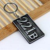 Detective Sherlock 221B Sleutelhanger Auto Sleutelhanger Multifunctionele sleutelhanger Sleutelhangers Ringen Houder Hanger & # 160; Auto-onderdelen (zilver)