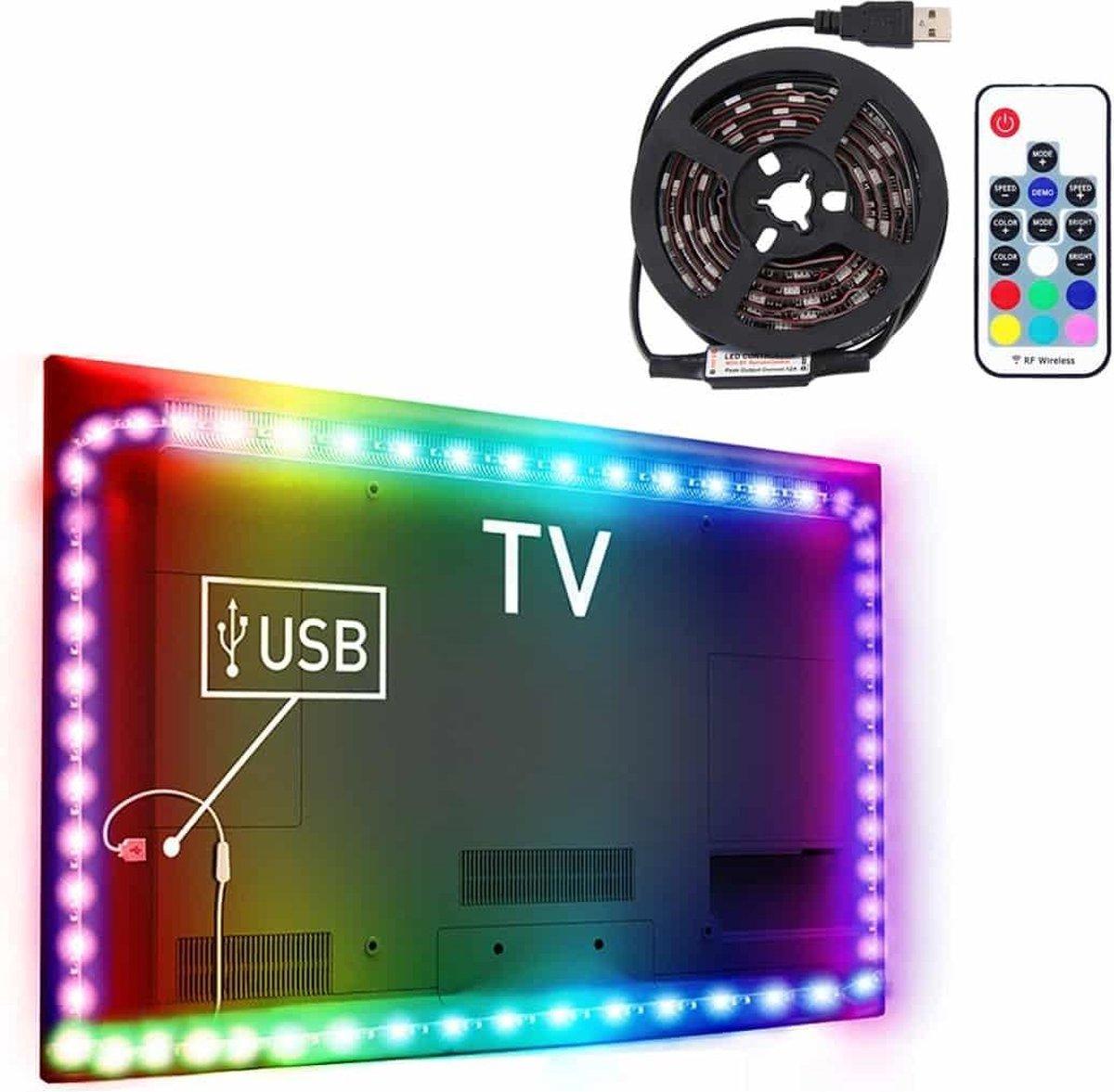 1m USB-tv Blackboard RGB Epoxy Rope Light, 12W 60 LED's SMD 5050 met 17-toetsen RF draadloze afstandsbediening, DC 5V