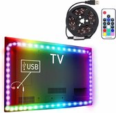 1m USB-tv Blackboard RGB Epoxy Rope Light, 12W 60 LED's SMD 5050 met 10-toetsen RF draadloze afstandsbediening, DC 5V