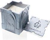 Zilver gelakte Candellana betonkaars, Gothic Hoogte 11 cm (40 uur)
