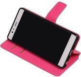 Wicked Narwal | Cross Pattern TPU bookstyle / book case/ wallet case voor Huawei P9 Roze