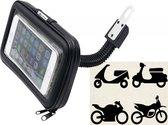 Regenbestendige telefoonhouder voor motor / scooter / brommer / scootmobiel, te monteren onder achteruitkijkspiegel, maat XL, max. passende maat 170 x 95mm, zwart , merk i12Cover