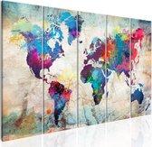 Schilderij - Wereldkaart , Wereld op Steen , Steenlook , 5 luik