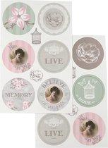 Stickers. 9x14 cm. 4 div vellen/ 1 doos
