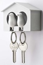 Sparrow Duo Sleutelhanger - Wit/Wit - Qualy