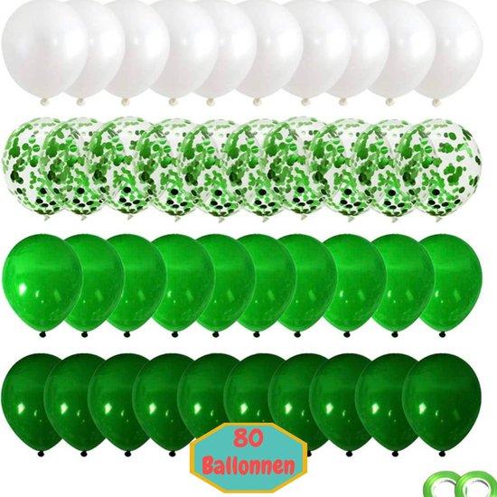 Baloba® 80 stuks Groen, Licht Groen, Wit & Voorgevuld met Papieren Confetti Ballonnen met Lint - Helium Latex Ballonnen