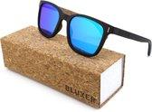 Bluxer® Zonnebril voor Heren en Dames Polaroid - Hippe Houten Zonnebril Gepolariseerd - UV400 Lens - Ebony Gelamineerd - Ice Blue Lens