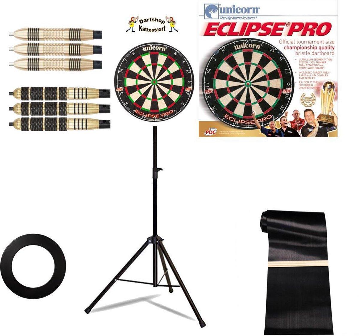 Unicorn Eclipse Pro DartSET Deluxe incl Dartstandaard & 6 darts + Surround Ring Zwart + Rubberen Ochemat