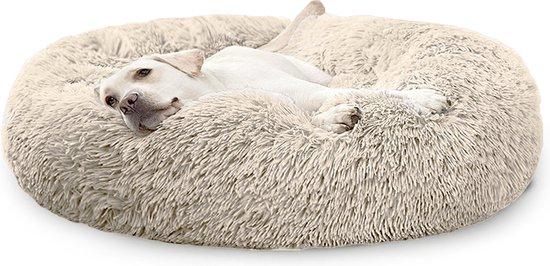 Donut Hondenmand XXL - Zacht Pluche Hondenmanden - 100 x 100cm - Antislip - Creme/Bruin