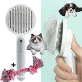 ✿BrenLux® Dierenborstel - Haarborstel huisdieren - Borstel voor vacht huisdier - Borstel kat - Borstel hond - Makkelijk haar verwijderen met één klik - Inclusief speeltje - Kam huisdier - Vachtverzorging - Massage