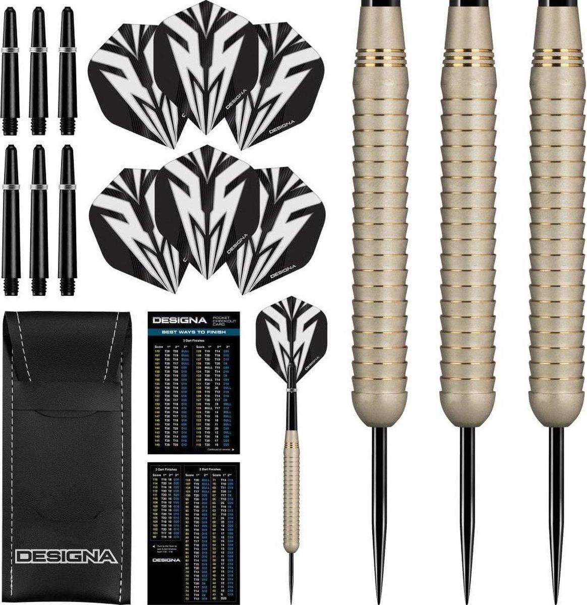 DESIGNA Mako Darts - Steel Tip Electro Brass - Shark Grip - Silver