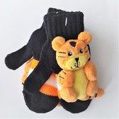 Kinderhandschoenen / Gebreide kinderhandschoenen met knuffeltje leeuwtje erop