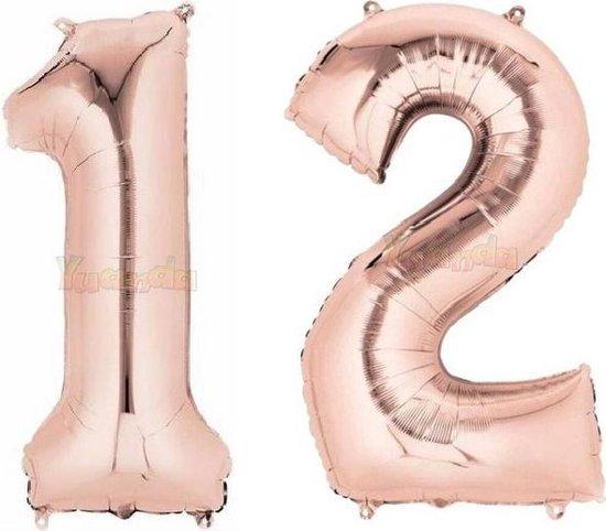 12 Jaar Folie Ballonnen Rosé Goud - Happy Birthday - Foil Balloon - Versiering - Verjaardag - Jongen / Meisje - Feest - Inclusief Opblaas Stokje & Clip - XXL - 115 cm