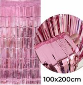 HappyHappenings© - Deurgordijn - Feestgordijn - Glittergordijn - Folie gordijn - Foliegordijn - Feest Versiering - Verjaardag Versiering - Deurgordijn roze - Roze - 100x200cm
