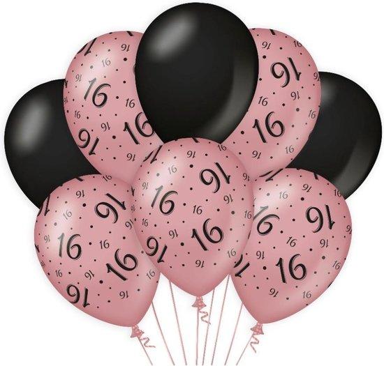 Decoratie Ballonnen Rose/Zwart 16 Jaar