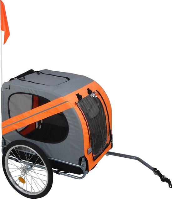 KLD Fietskar oranje / grijs voor honden tot 40 kg.