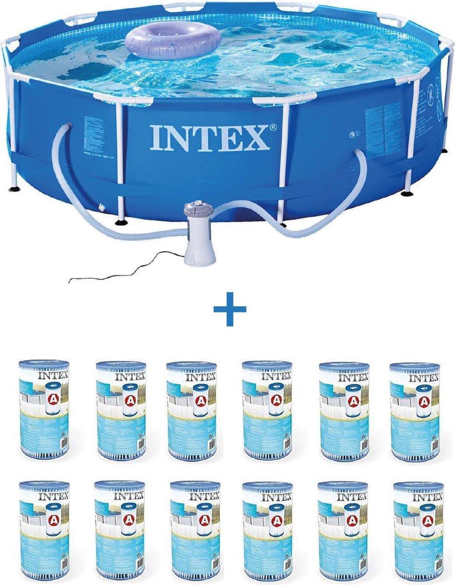 Intex 28202GN Frame Zwembad 305x76cm + Pomp + 12x A Filtercartridges