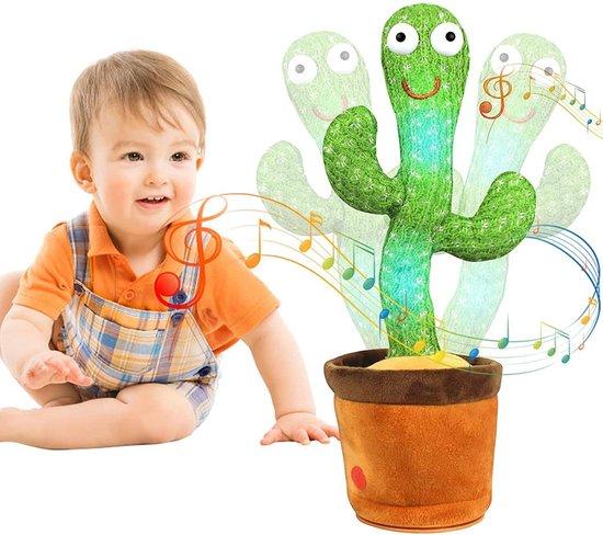 JUST23® Dansende cactus speelgoed - Tiktok - Decoratie - Dancing cactus - 120 Liedjes -  Recorder - Baby - Inclusief batterijen