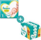 Pampers Premium Protection New Baby Luiers Maat 1 - 144 Luiers + Pampers Sensitive Billendoekje 624 Stuks