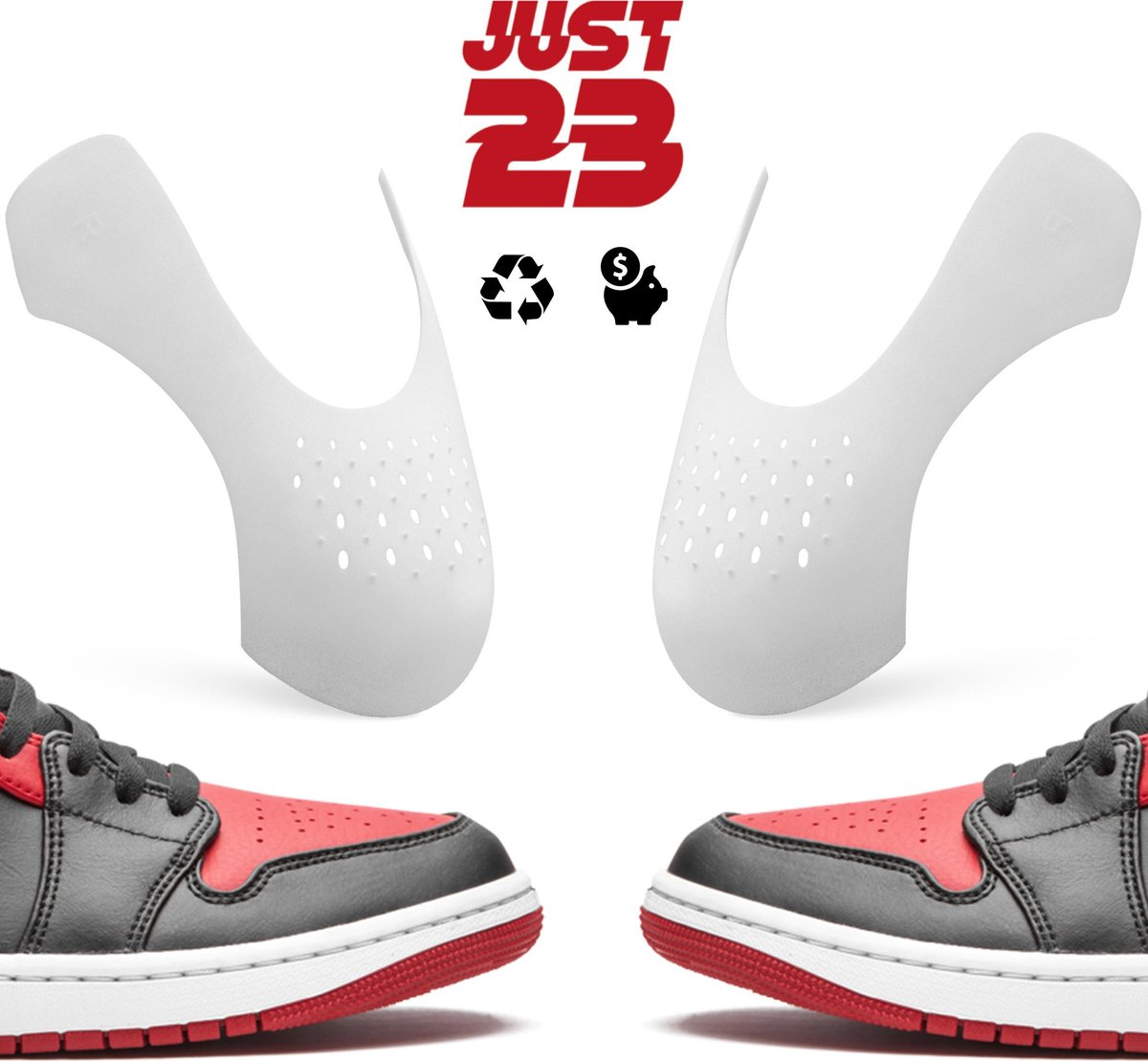 JUST23® Sneaker Crease Protector – Anti Crease – Wit  –  Maat 35-40 (S)  –  Sneaker Shield – Anti Kreuk – Alle Schoenen zoals...