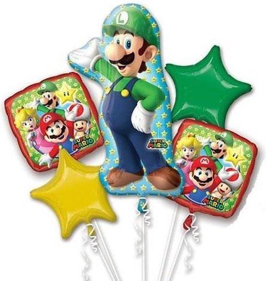 Super Mario Helium Ballonnen Set Luigi 5 delig leeg