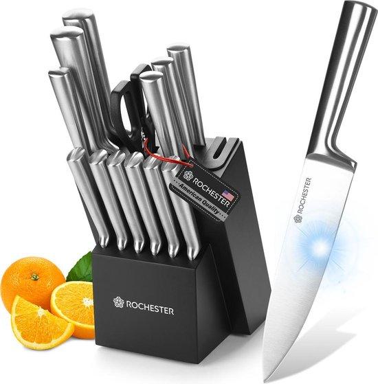 Rochester 14-delige Messenset met Blok en Messenslijper - Keukenmessen met Messenblok - RVS - Krasbestendige Coating