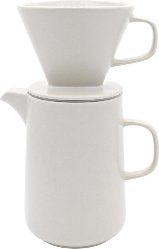 House of Husk™ - Slow Coffee - 0.6L - Koffiefilter - Coffeemaker - Koffiefilterhouder met Koffiekan en Deksel - Cafetière - Pour Over - Creme Kleur