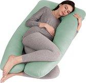 Litollo® Zwangerschapskussen XXL - Voedingskussen - Lichaamskussen - Body pillow - 280cm - Afneembare hoes - Olijfgroen